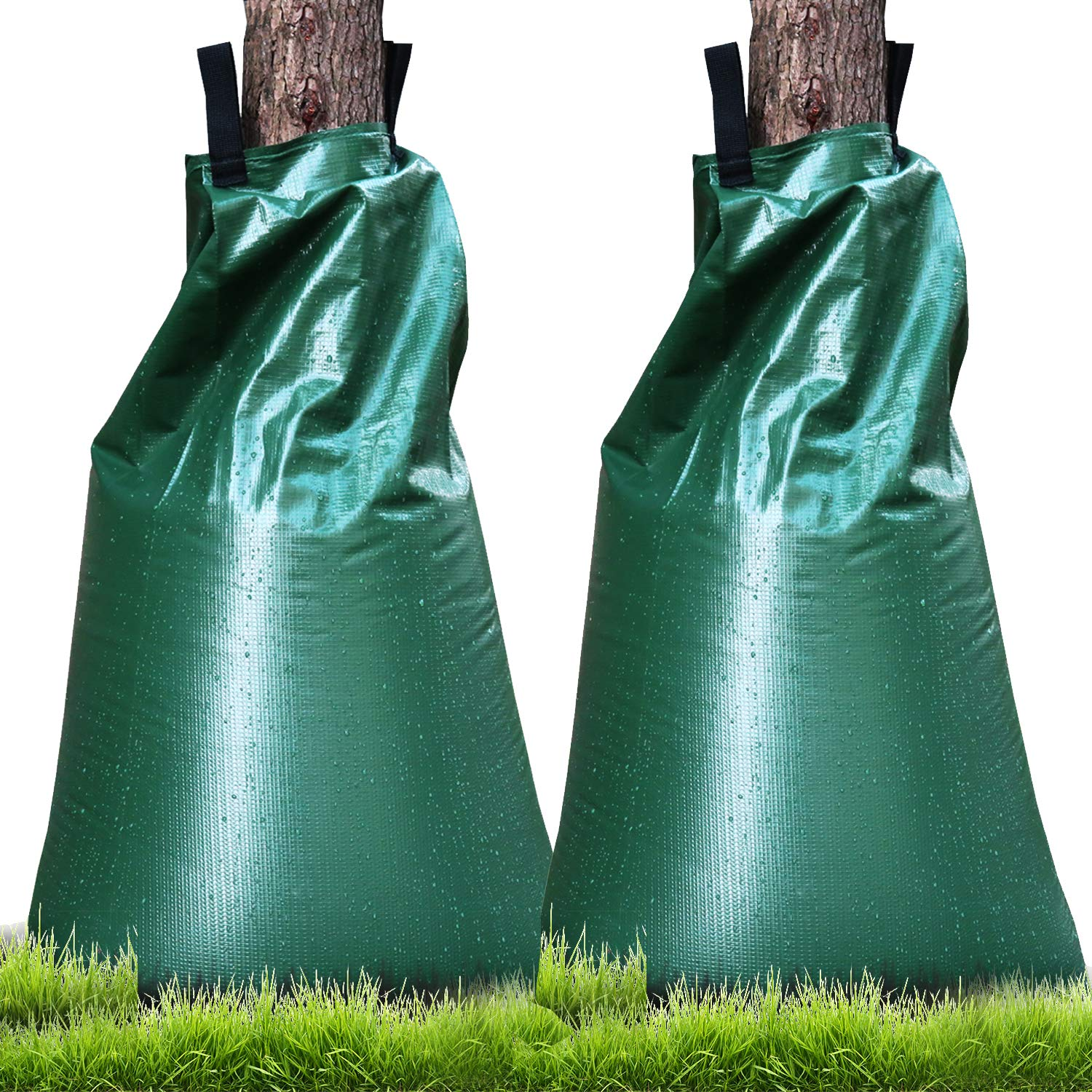 Premium Tree Watering Bag, UPGRADED 20 Gallon Slow Release Plant Watering Bag for Tree Dip Irregation, Made of Upgrade Thickened PVC Tarpaulin with Heavy Duty Zipper (2 PACK)