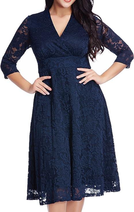Amazon.com: GRAPENT - Vestido de mujer de encaje de talla ...