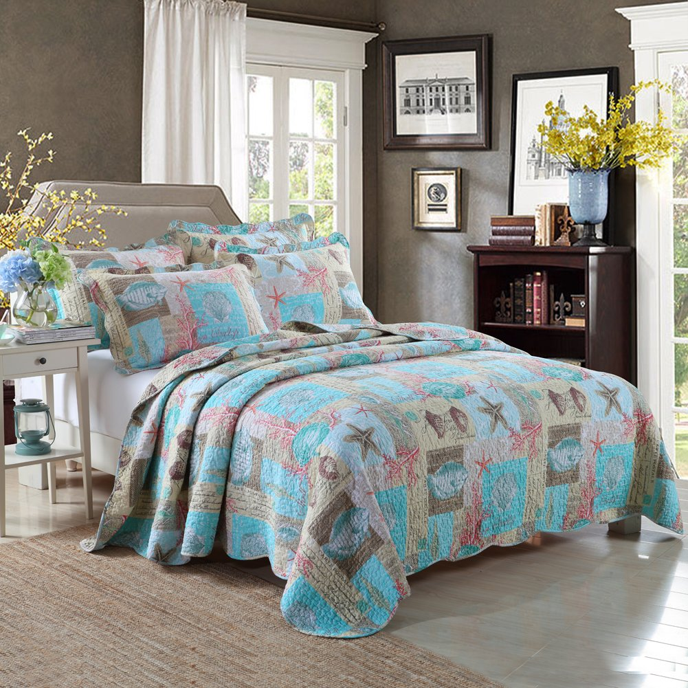 Beach Theme 3-Piece Cotton King Quilt Set With Blue Seashell Pattern Lightweight&Reversible Bedspread and Coverlet by mixinni