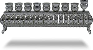 """Ner Mitzvah Silver Plated Oil Wall Menorah - Fits Standard Chanukah Oil Cups and Large Candles - 3"""" High"""