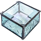 J Devlin Box 898 Aquamarine Blue Glass Keepsake Trinket Decorative Jewelry Box