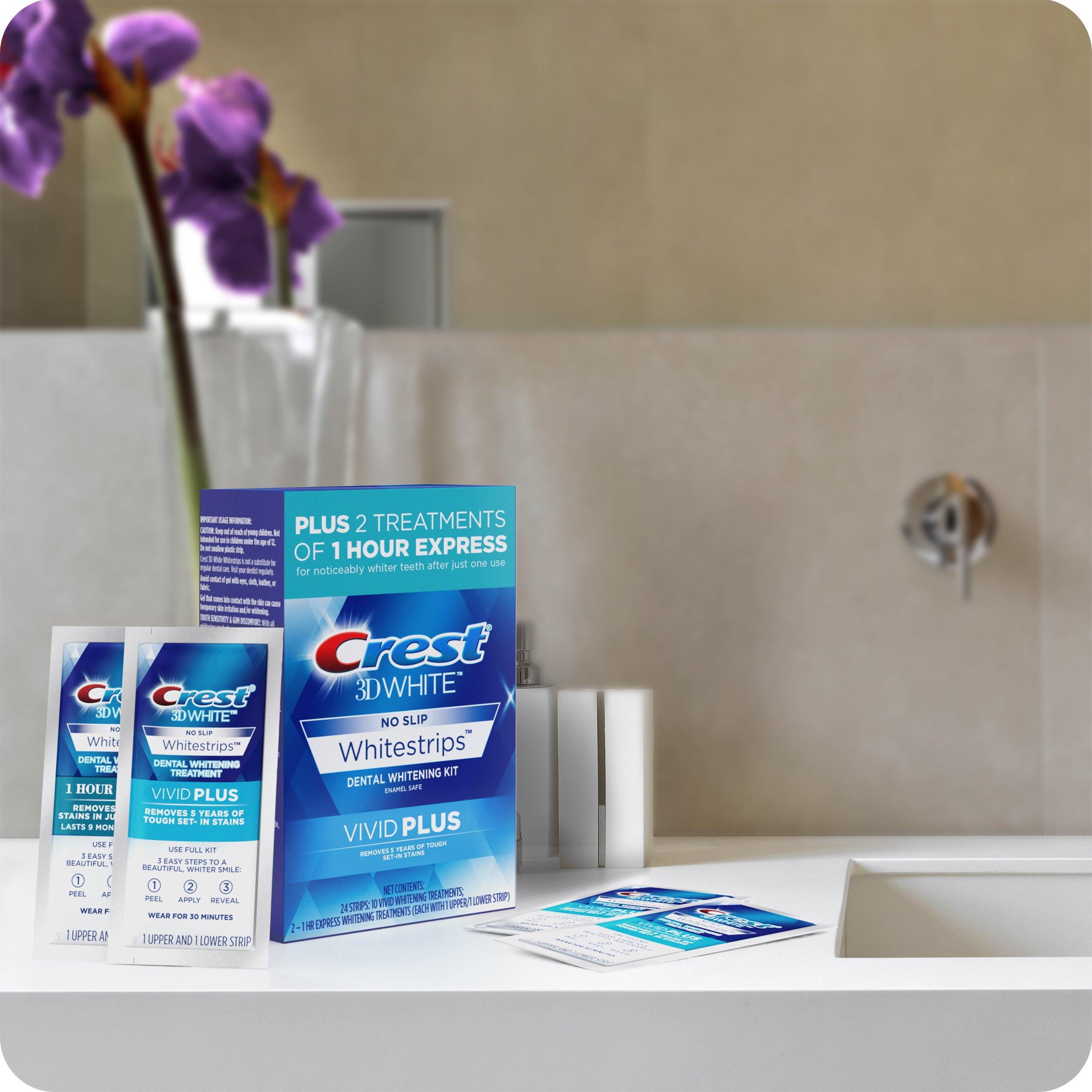 Crest 3D White Whitestrips Vivid Plus 12 Treatments – 10 Treatments Vivid Whitestrips + 2 Treatments 1 Hour Express Dental Teeth Whitening Kit by Crest (Image #4)