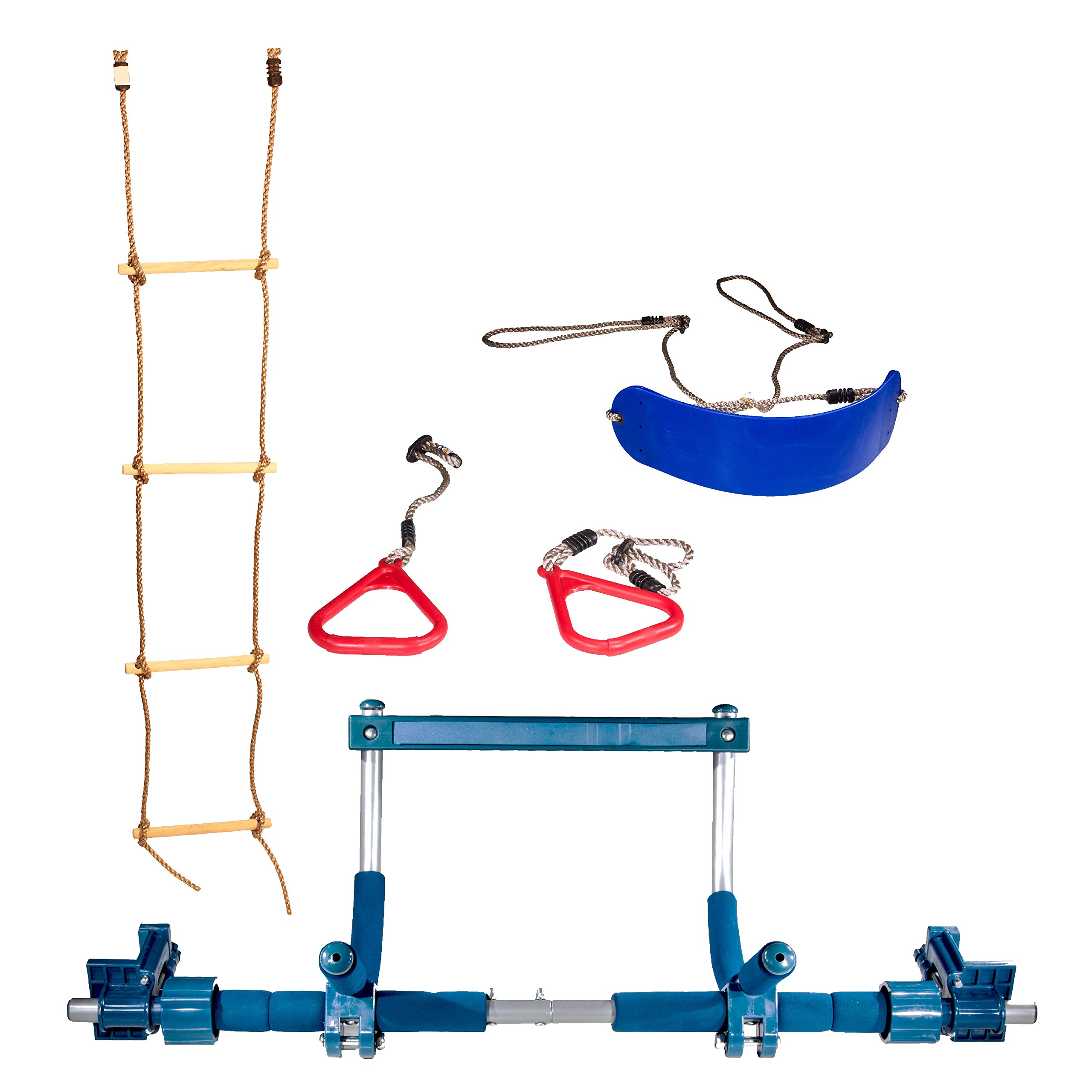 Gym1 Indoor Playground with Indoor Swing, Plastic Rings, and Climbing Ladder