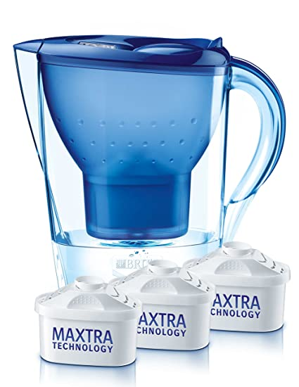 Brita Marella - Jarra con filtro de agua 2.4 L, 3 filtros, color azul