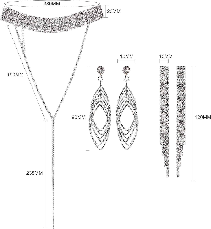cumplea/ños en Cualquier Lugar Siruiku Collar 2 Juegos de aretes Fiestas Diamantes de imitaci/ón completos para Bodas Collar de Gargantilla para Mujeres ni/ñas