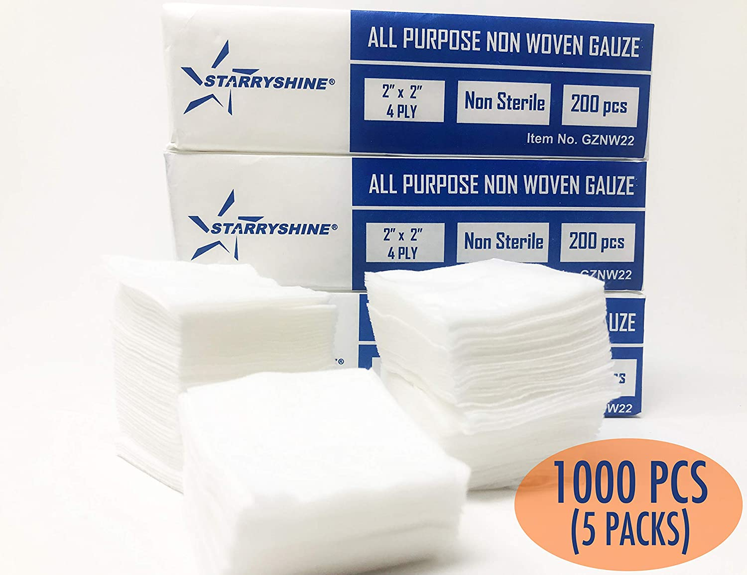 Amazon 2X2 Non Woven 4 Ply Dental Medical Gauze Pad Sterile All Purpose Sponges Cotton Filled Provide Maximum Absorption