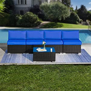 5 Pieces Outdoor Patio PE Rattan Wicker Sofa Sectional Furniture Set, All Weather Washable Cushions, Garden Lawn Pool Backyard Sofa Set with Coffee Table, Black Wicker Navy Cushions