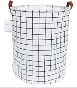 CLOCOR Collapsible Round Storage Bin/Large Storage Basket/Clothes Laundry Hamper/Toy Books Holder (White Check)