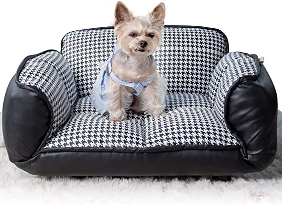 Stark Pet Dog Sofa Bed Pu Leather Couch Living Room Furniture Chair With Adjustable Armrests For Dogs Cats Home Decro Easy To Clean Houndstooth Kitchen Dining