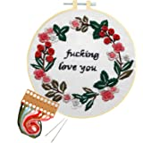 Nuberlic Embroidery Kit Cross Stitch Funny Sassy Kit for Adults Beginners Printed Embroidery Starters Kits with Pattern for Kids Crafts Embroidery Hoops Floss Thread Needles
