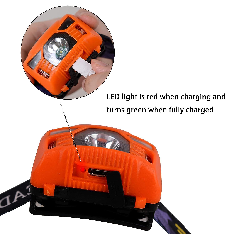 luz blanca y roja 3 pilas AAA incluidas para correr con sensor de manos libres Linterna frontal LED recargable por USB acampar Wolfteth pesca senderismo 250 l/úmenes