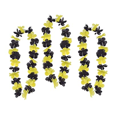 Team Spirit Flower Leis Yellow and Black - 12 Pieces: Clothing
