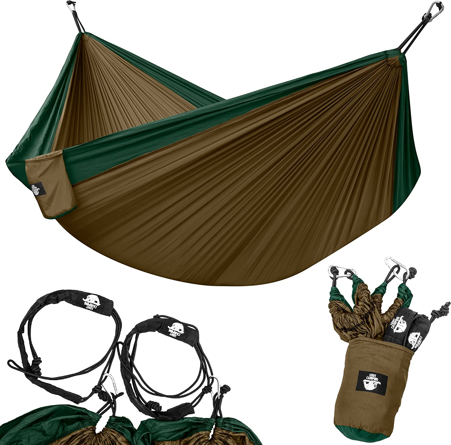 Legit Camping Portable Double Hammock - Dark Green/Brown - 400 lb Weight Capacity