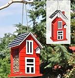 Vogelfutterhaus Holz rot