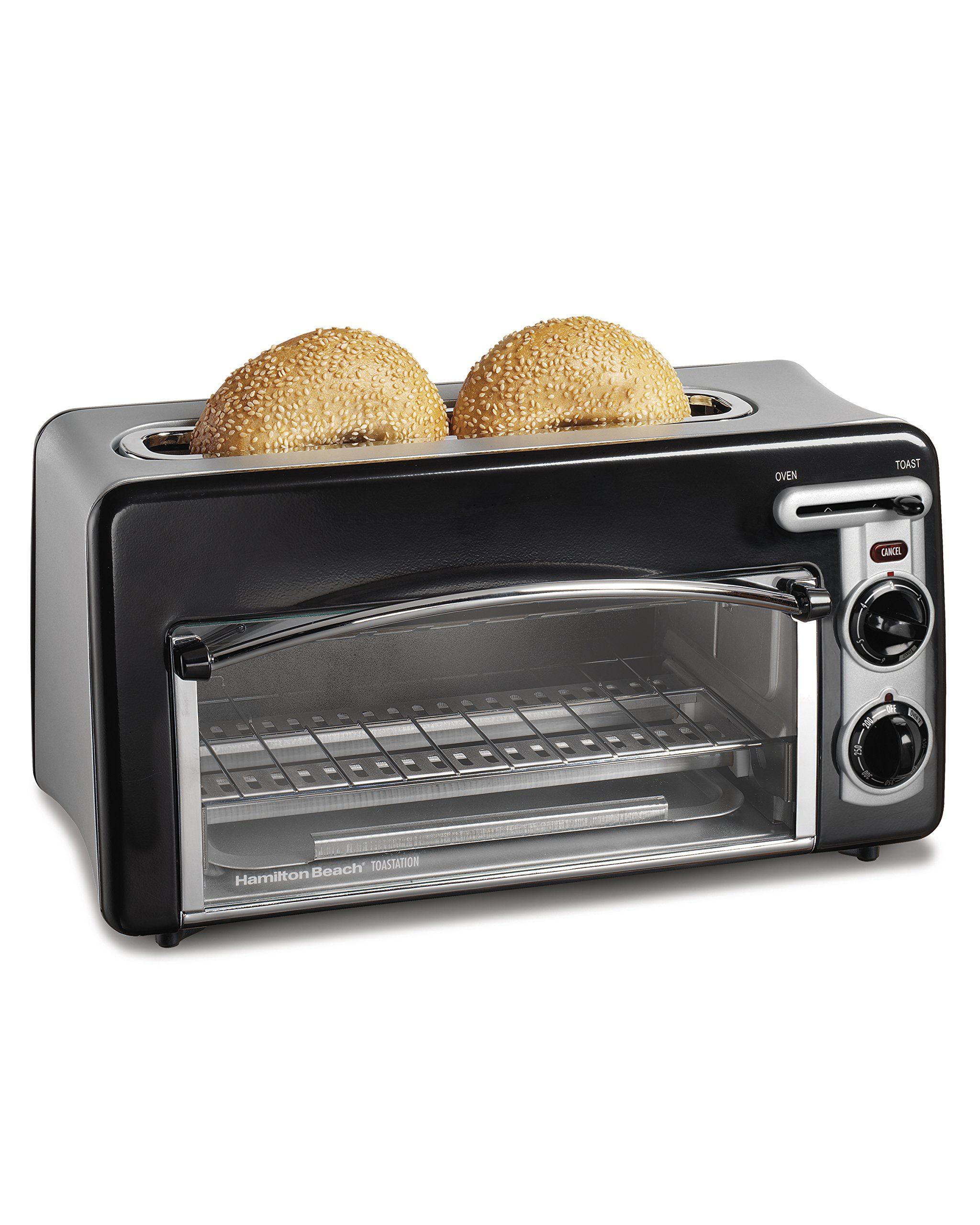 Hamilton Beach Toastation Oven with 2-Slice Toaster Combo, Ideal for Pizza, Chicken Nuggets, Fries and More (22708), Black by Hamilton Beach
