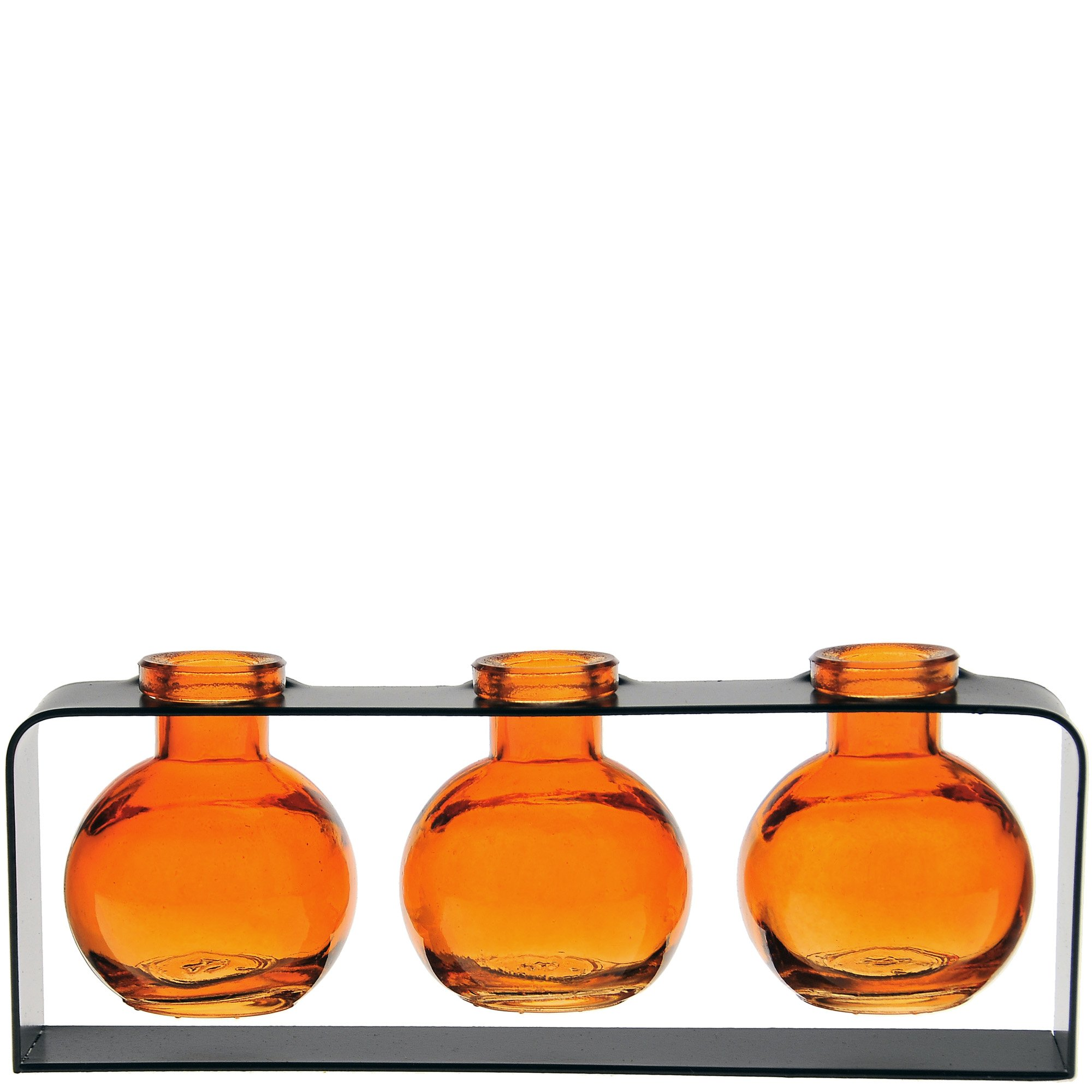 Couronne Company M507-200-08 Trivo Three Recycled Glass Vases & Metal Stand, 3 3/4'', Orange, 1 Piece