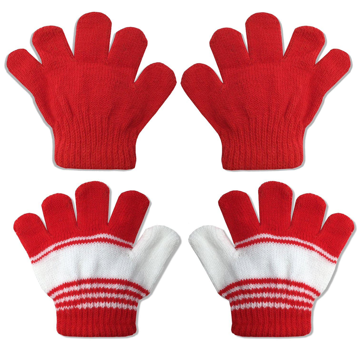 2 Pair Pack Infant to Toddler Baby Gloves Stretchy Knit Warm Winter (Ages 0-3) 4521-S-4-2PK-RED