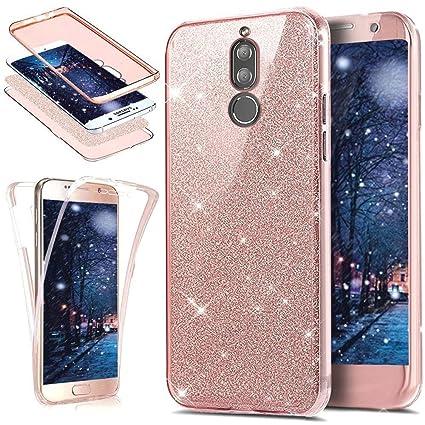 Uposao Funda Huawei Mate 10 Lite 360 Grados Integral Ambas Carcasa, Funda 360 Full Body Completa CAS + Bling Glitter Brillante 3 en 1 Funda Ultra ...