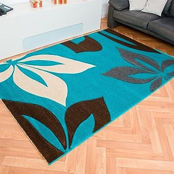 Moderner Designer Teppich Nea Blumen Trkis