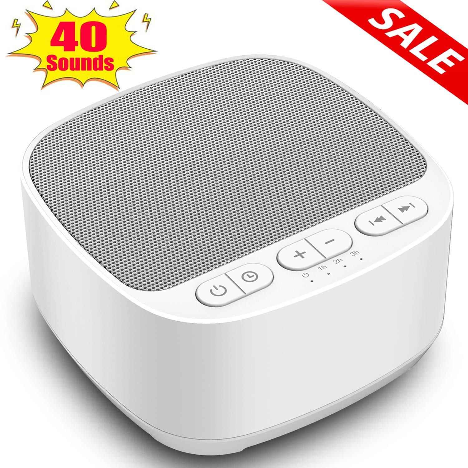 Magicteam Sleep Sound White Noise Machine with 40 Natural Soothing Sounds and Memory Function 32 Levels of Volume Powered by AC or USB and Sleep Timer Sound Therapy for Baby Kids Adults White