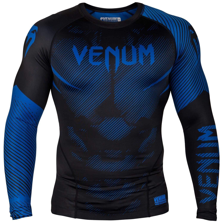 Venum MMA NO GI Long Sleeve Rash Guard - Black/Blue (Large) by Venum
