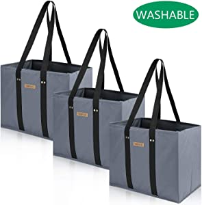 Washable Reusable Grocery Shopping Bags Oxford Cloth Made Foldable Large Durable Sanding Tote with Reinforced Sides and Bottoms(3 Pack - Gray)