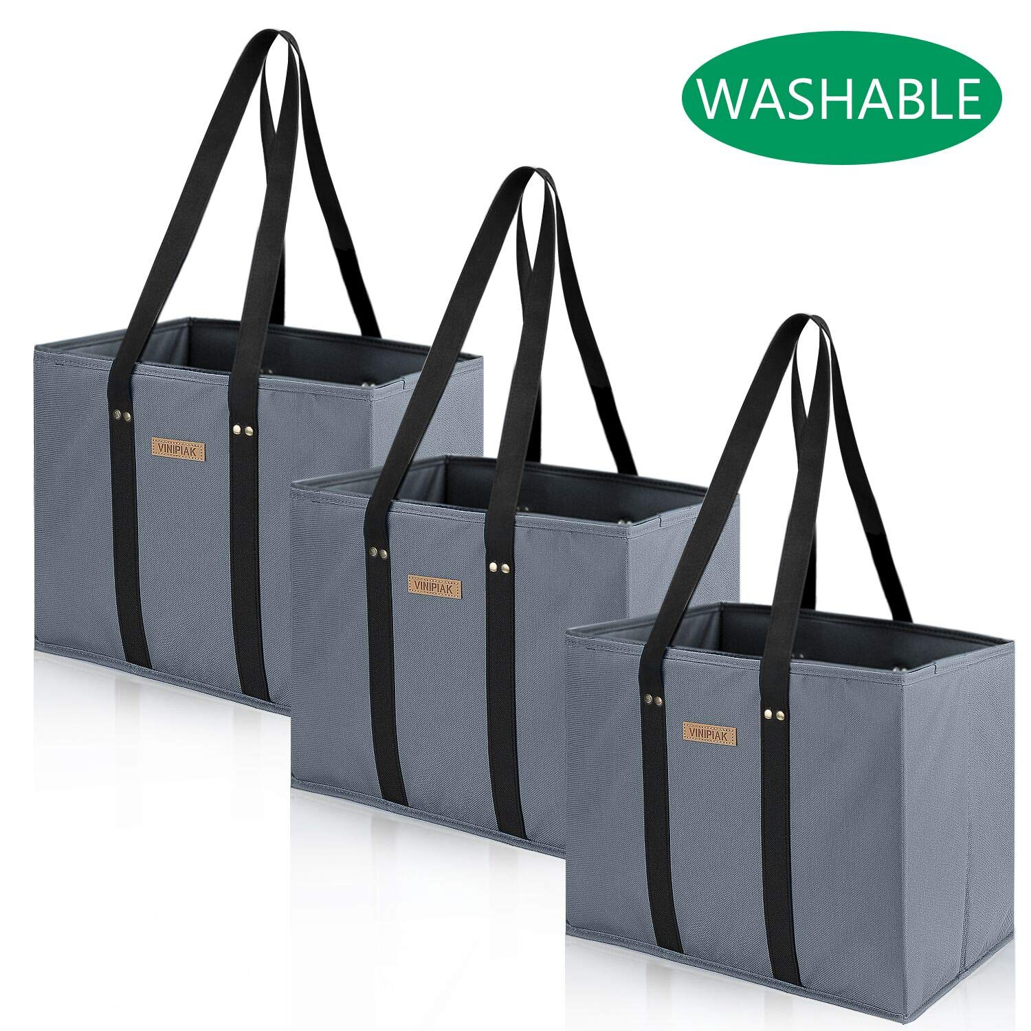 Washable Reusable Grocery Shopping Bags Oxford Cloth Made Foldable Large Durable Sanding Tote with Reinforced Sides and Bottoms(3 Pack - Gray) by Vinipiak