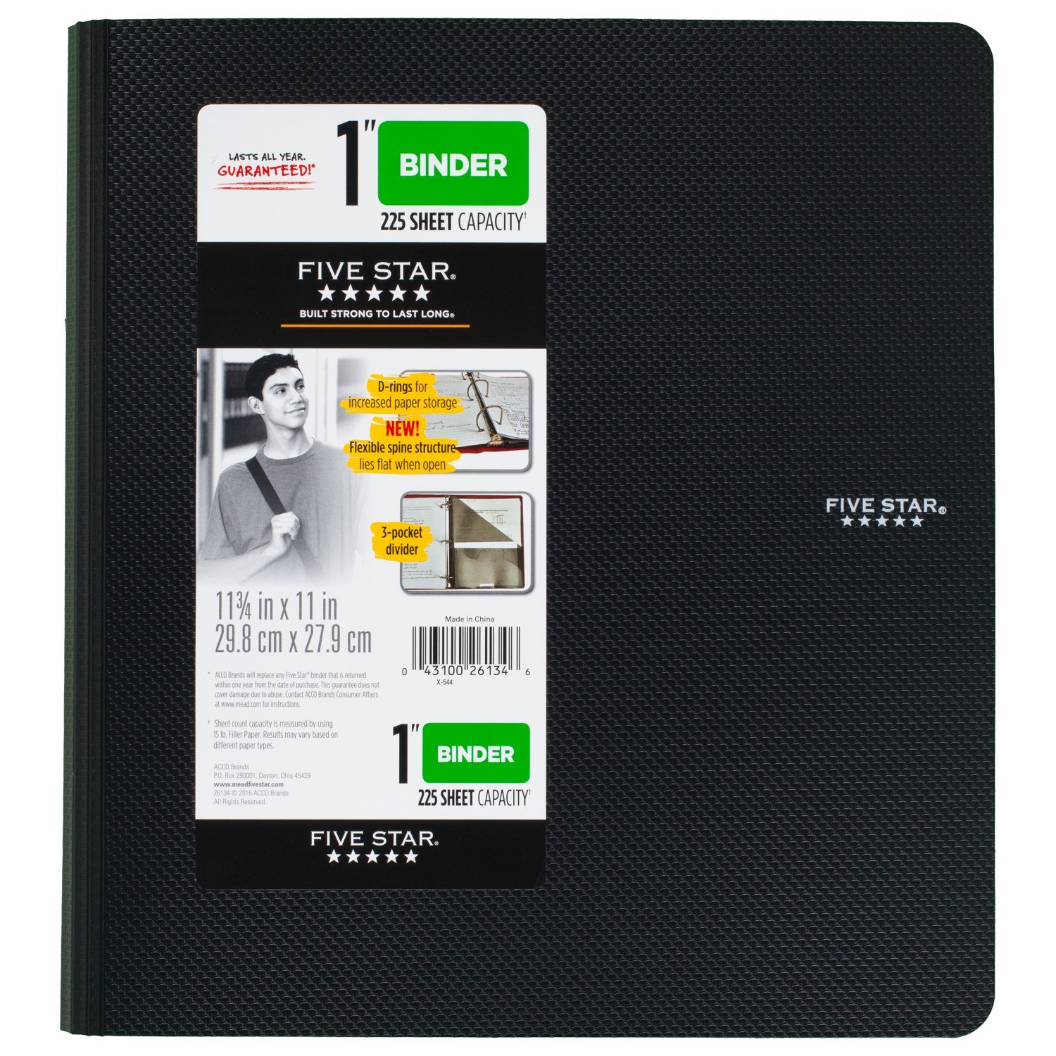 Five Star 1 inch 3 Ring Binder, Plastic, Black (38894)