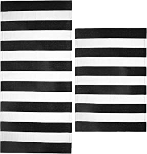 SHACOS Woven Cotton Rugs Set of 2 Pieces Black White Stripe 2'x3'+2'x4.2' Farmhouse Throw Rug Runner for Front Door Kitchen Bathroom Laundry Room