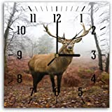 Feeby, Wall Clock, Multi-colour, Deco Panel Picture with Clock, Wall Deco, 30x30 cm, DEER, ANIMAL, HORNS, FOREST, TREES, BROWN