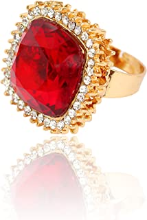 5330aa77a Touchstone Alloy Traditional Indian White Rhinestone Faux Ruby Wedding Wear  Jewelry Finger Ring In Gold Tone