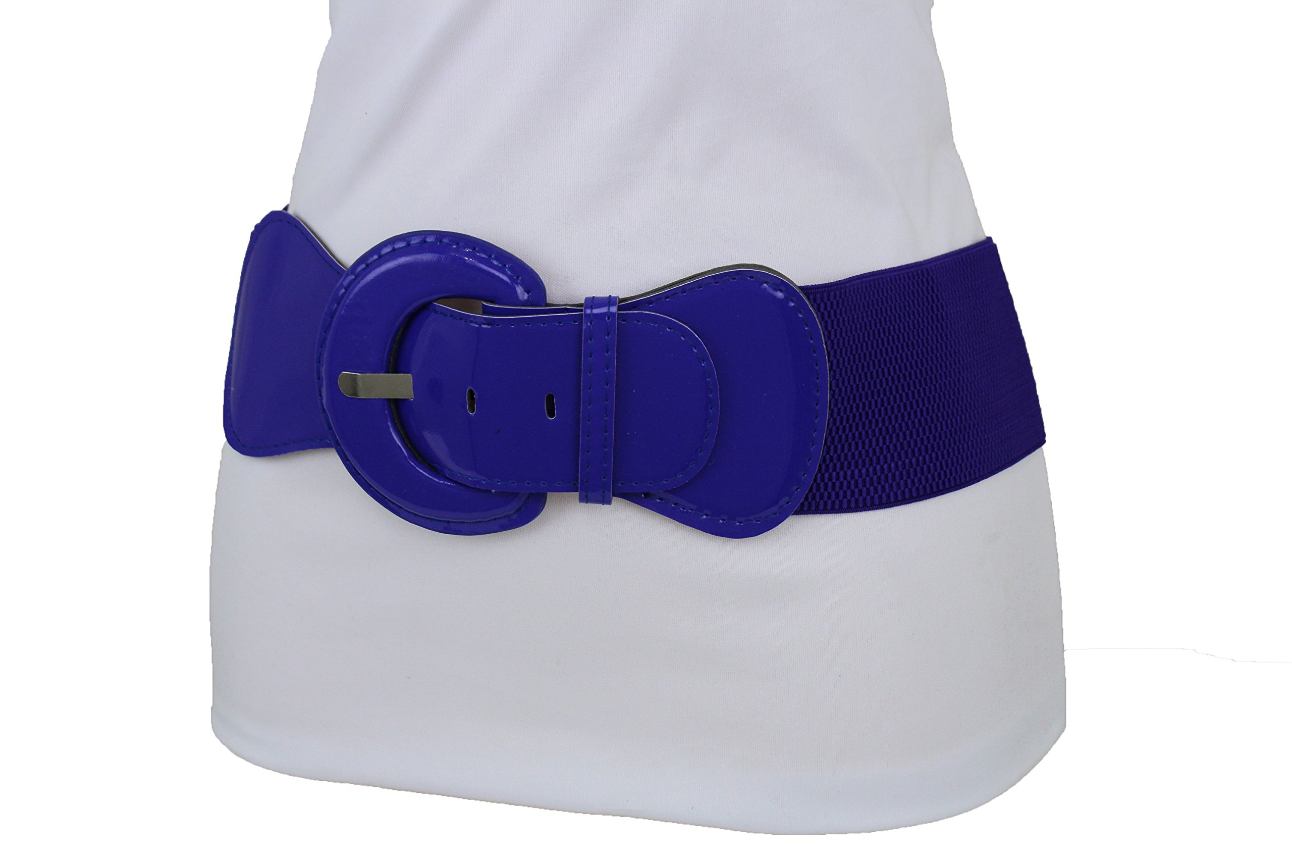 TFJ Women Fashion Elastic Belt Hip High Waist Big Round Buckle XS S M Violet Purple