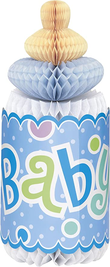 "Blue Boys 12/"" Honeycomb Bottle Baby Shower Gender Reveal Party Decoration Decor"
