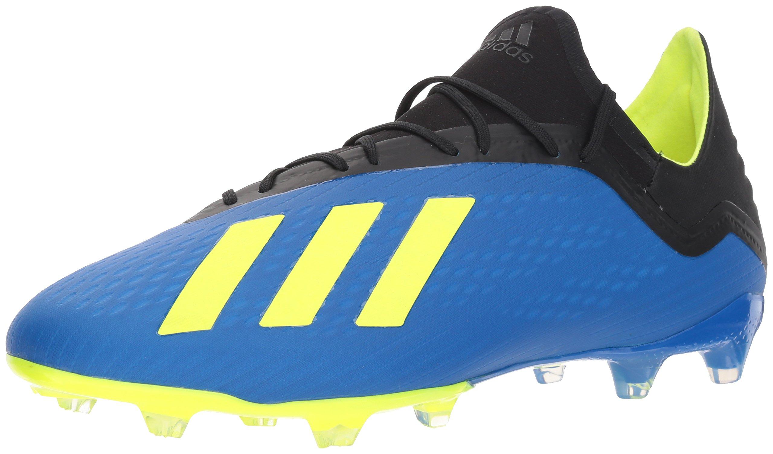 adidas Men's X 18.2 Firm Ground Soccer Shoe, Football Blue/Solar Yellow/Black, 10 M US
