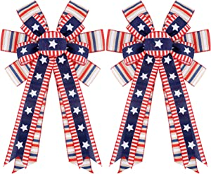 Chuake 2 Pieces Independence Day Patriotic Bows Stars and Stripes Patriotic Flag Bow 4th of July Red White Blue Burlap Bow American Flag Wreath Bow for Memorial Day, Door Wall Decor, 19.7 x 11.4 Inch