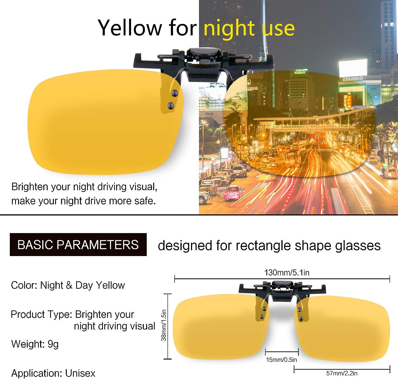 Giallo Splaks 2 pack Copriobiettivo a Lente Rettangolare Senza Cornice Polarizzata con Visione Notturna .Adotto per Outdoor Sport Ciclismo Clip su Occhiali da Sole Polarizzati