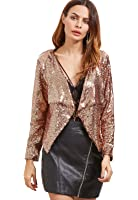 Verdusa Women's Gold Chain Sequin Open Front Blazer