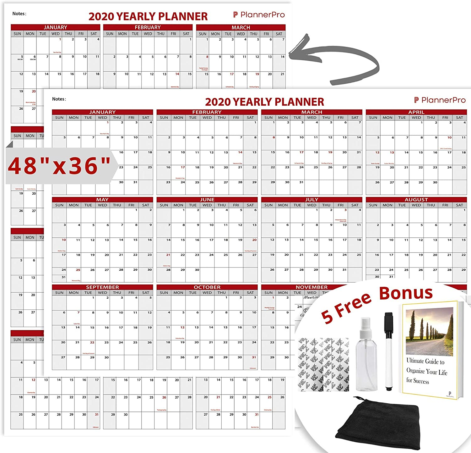 """PLANNERPRO Large Dry-Erase Wall Calendar - Yearly and Monthly, Laminated White, 48""""x36"""" - 2-Sided Oversized Planner for Office - Never Forget an Event Again"""