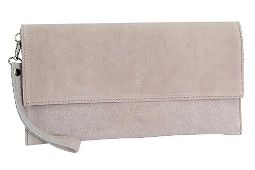 a8e806d00c000 AMBRA Moda Damen Wildleder Clutch Handtasche veloursleder Tasche  Handschlaufe WL811 (Altrosa)