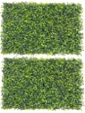 Fourwalls Artificial PVC Eucalyptus Boxwood Tiles (60 cm x 40 cm x 2 cm, Green, Set of 2, MAT EQUALIPTUS 40 X 60/1150/S2)