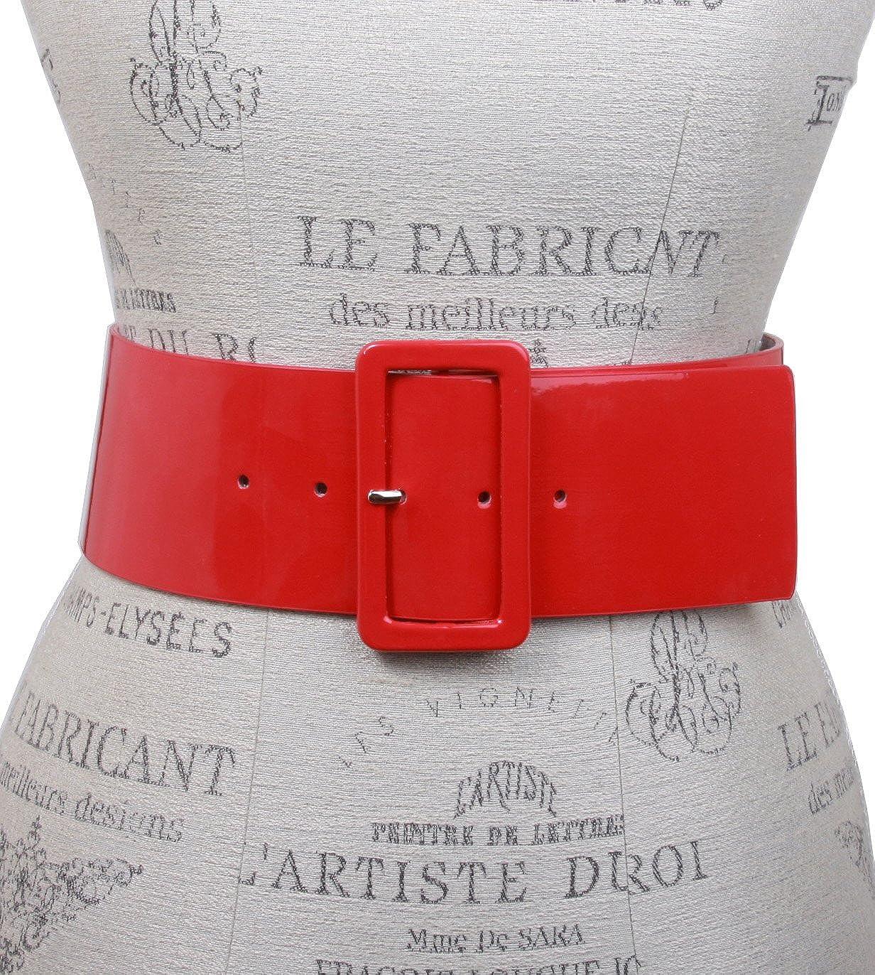 Ceinture carrée en cuir patenté - Taille haute - Pour femme - beltiscool Red