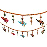 Door Hanging Decorative Cotton Elephants & Globulars in Vibrant color with Beads and Brass Bell