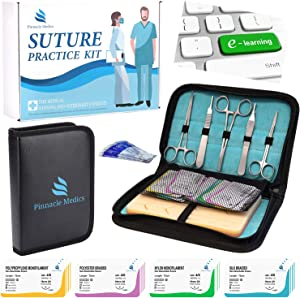 Suture Practice Kit for Suture Training | Suture Practice Pad and Tool Kit | 24 Mixed Sutures Thread with Needle | Suture Kit for Medical, Nursing and Vet Students | Step by Step HD Video Tutorial