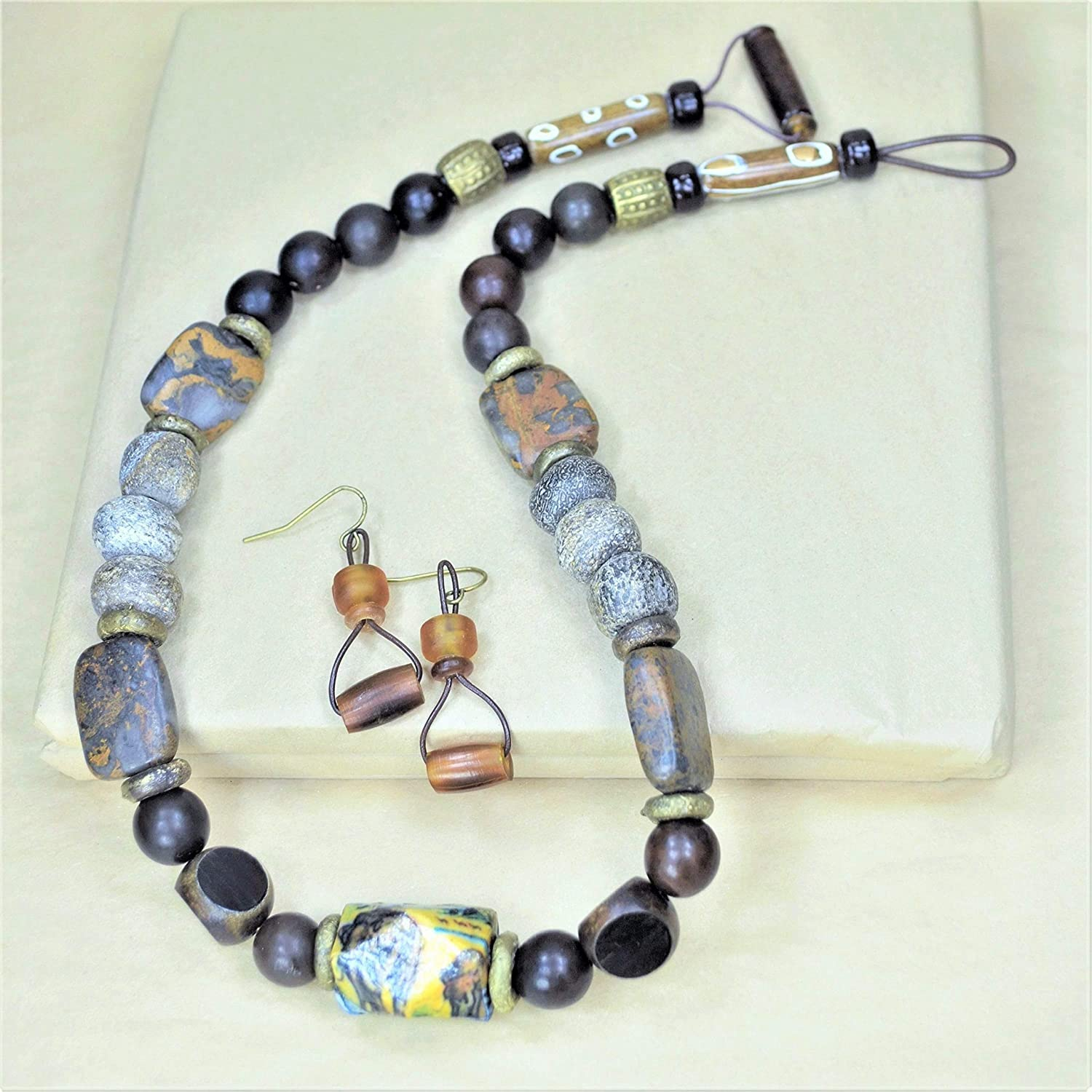 Back to Africa Woolly Mammoth Necklace w/Earrings
