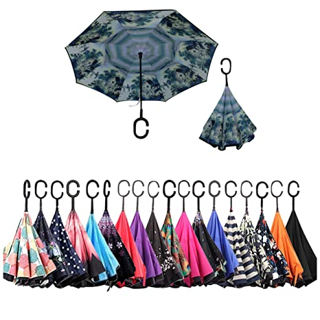 8044229ce04 Hoyst Double Layer Inverted Umbrellas – 2019 Reverse Folding Upside Down  Umbrella with C-Shaped Handle – Large, UV Protection, Windproof Inside ...