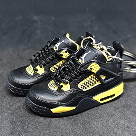 47e81a3875b71f Amazon.com   Pair Air Jordan IV 4 Retro Thunder Black Yellow OG Sneakers  Shoes 3D Keychain Figure 1 6   Everything Else
