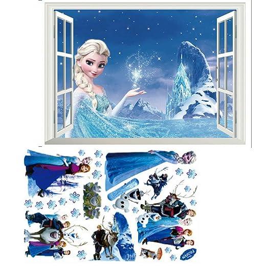 Kibi Wandsticker Mit Frozen Motiv Elsa Und Anna Fur Kinderzimmer 2 Stuck Eiskonigin Wandaufkleber Disney Wandsticker