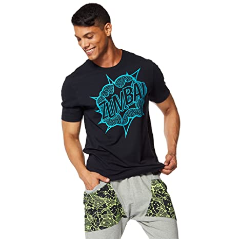 Zumba Fitness® Mens Zumba Pow tee Camiseta, Hombre, Negro, ...