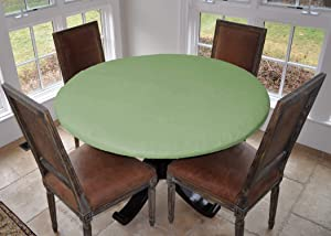 "Covers For The Home Deluxe Elastic Edged Flannel Backed Vinyl Fitted Table Cover - Basketweave (Green) Pattern - Large Round - Fits Tables up to 45"" - 56"" Diameter"
