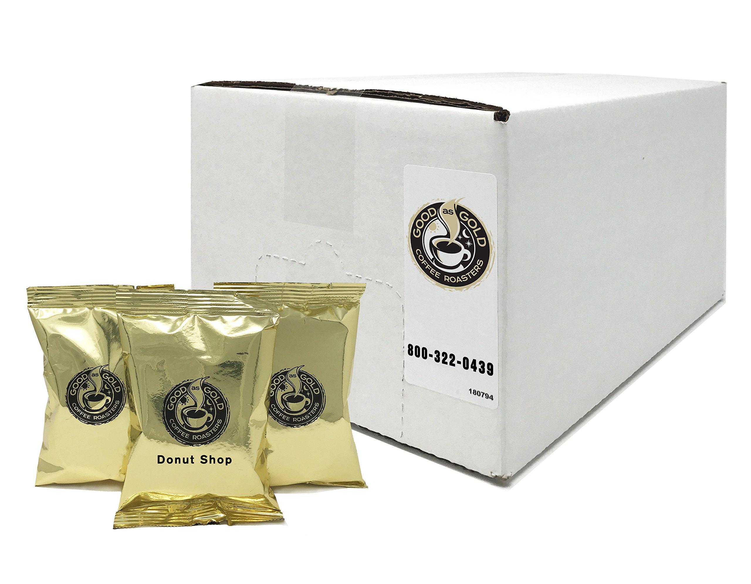 Donut Shop Coffee Pouches, Good As Gold Coffee (40/2.0oz Pre measured coffee packets), Premium 100% Arabica Medium Roast Blend